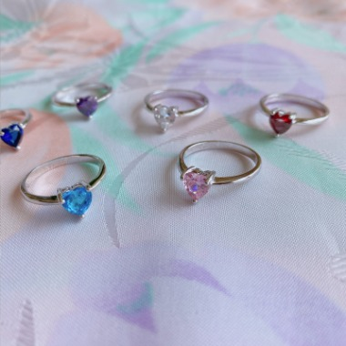 Love heart silver ring (pink, red, clear, purple, sky blue, navy)
