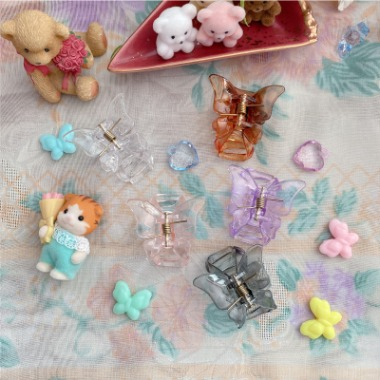 Butterfly transparent mini hair claw / clip