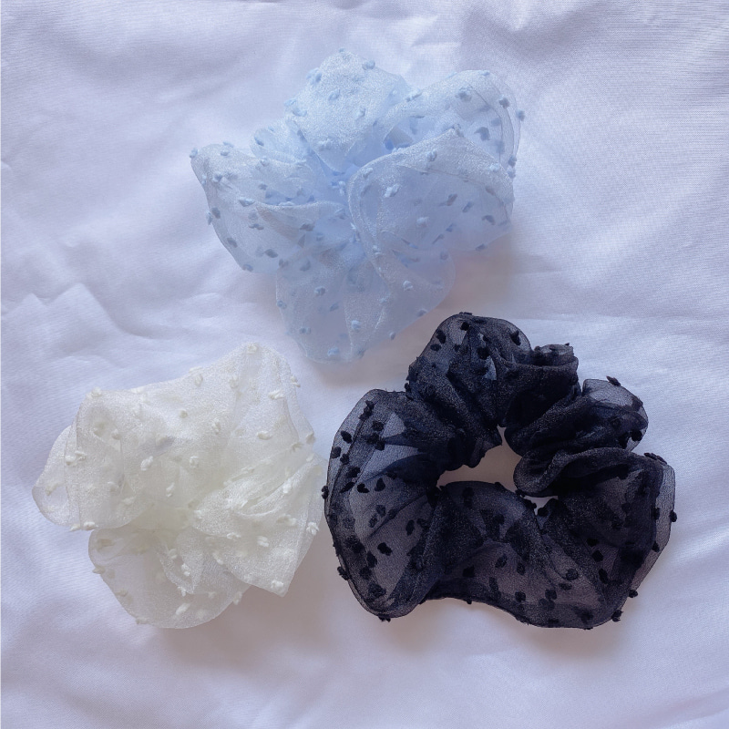 organza dot scrunchie hair tie (white, black, powdery blue)