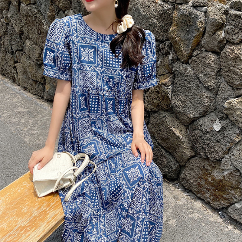 Flower quilt pattern midi dress